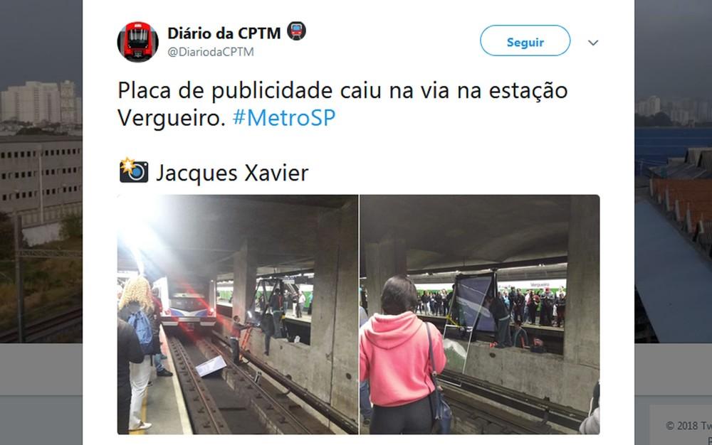 Placa de publicidade cai e fecha quatro estações da linha 1-azul, a queda  de uma placa de publicidade nos trilhos do metrô de São Paulo obrigou o  fechamento ... a95fb81909